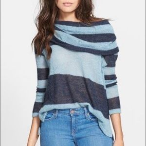 Free People rugby stripe cowl neck sweater